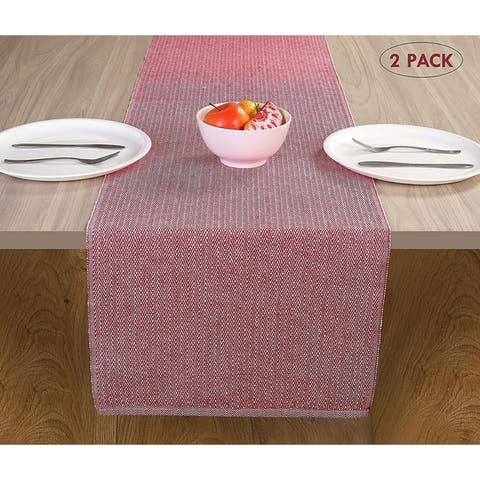 GLAMBURG 100% Cotton 2-Pack Herringbone Weave Table Runner for Family Dinners or Outdoor Parties and Everyday Use