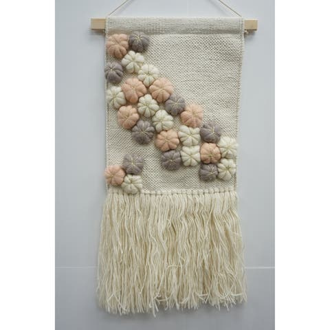 The Curated Nomad Chicory Macrame Wall Hanging with Multicolor Accents - Exact Size