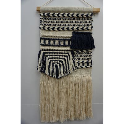 The Curated Nomad Chicory Macrame Wall Hanging with Navy Blue Pattern - Exact Size