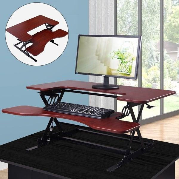 Height Adjustable Standing Desk w/Converter Workstation