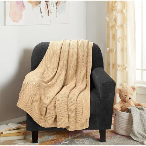 Glamburg Knit Diamond Pattern Cotton Throw Blanket 50x60 for Sofa, Chair, Bed, Couch and Everyday Use
