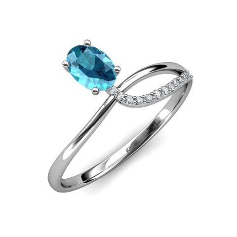 Trijewels London Blue Topaz Diamond 1 1/8 ctw Women Ring 14KW Gold