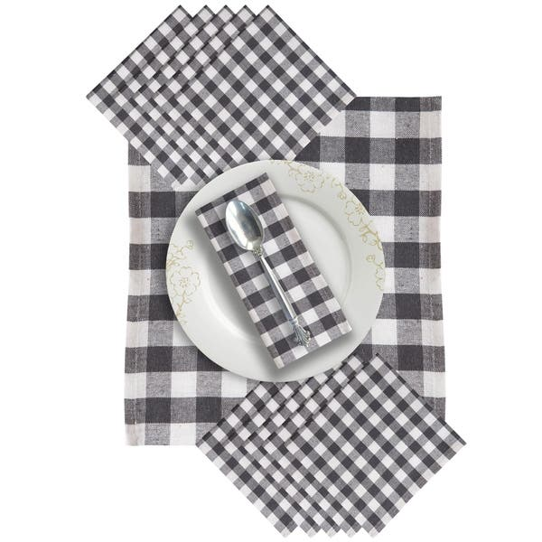 Glamburg Cloth Napkin 12 Pack 100 Cotton Dinner Napkin 20x20 Gingham Plaid Check Easy To Clean Overstock 30425223
