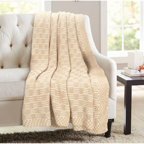 Glamburg 100% Cotton Knitted Throw Blanket 50x60 for Couch Sofa Chair Bed Beach Travel, All Season Chunky Knit Throw Blanket