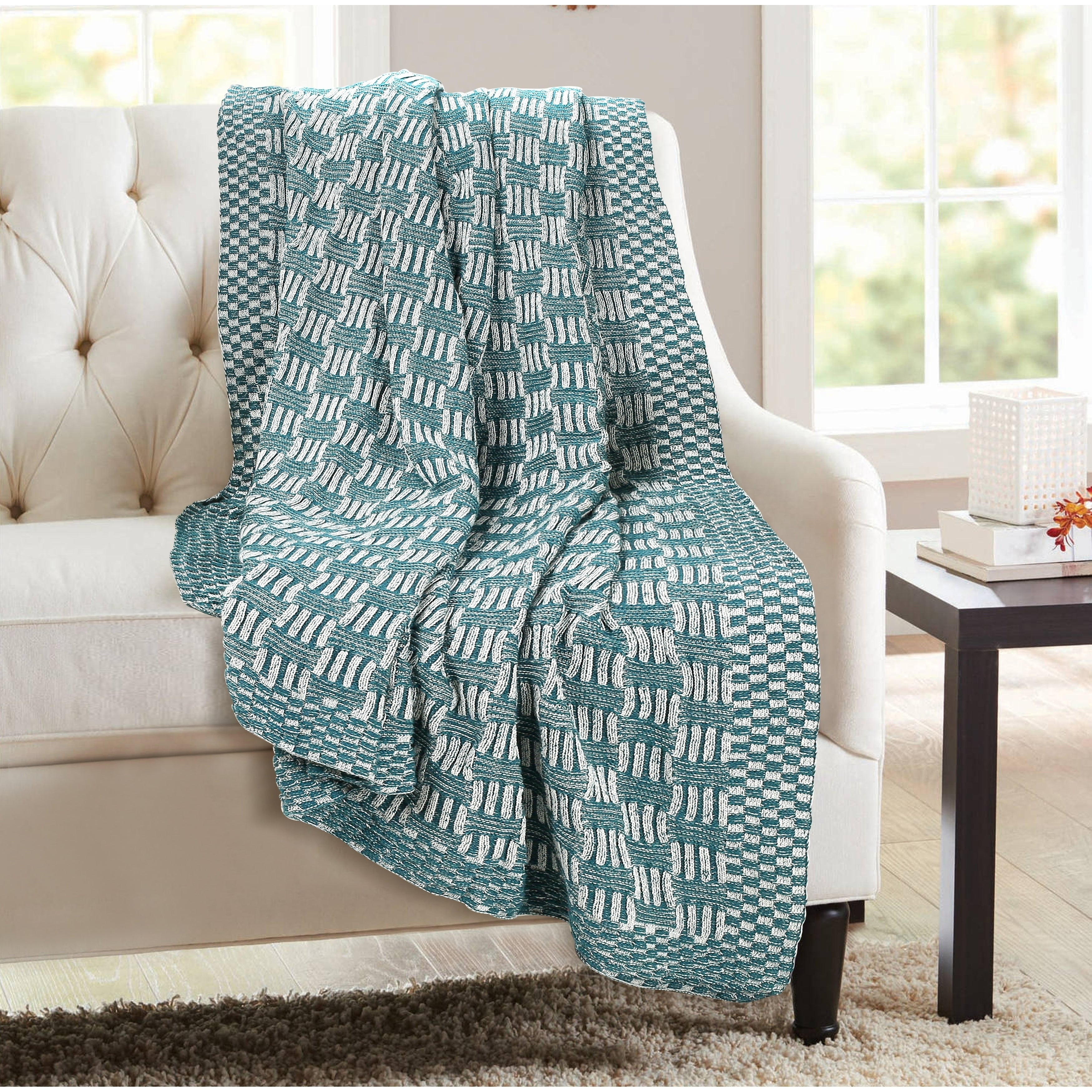 Picture of: Soft Warm 100 Cotton Knitted Throw Blanket Home Decor Sofa Couch Bed 16 Colors