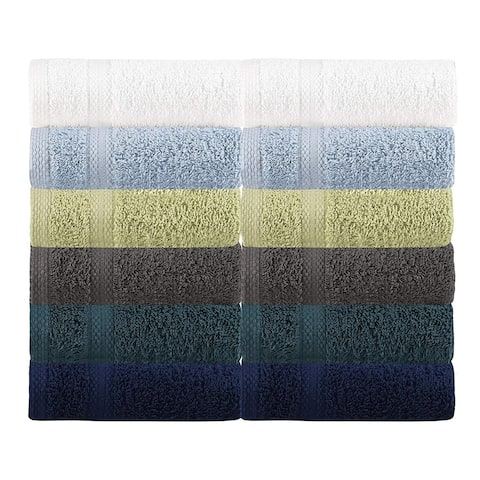 Glamburg Multi Color Wash Cloths Set - 100% Cotton, 13x13 - Ideal for Everyday use, Quick Dry - Highly Absorbent