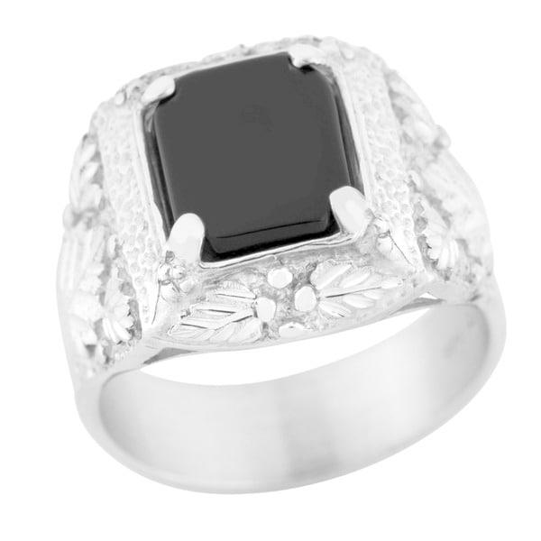 Black Hills Silver Rectangular Onyx Men's Ring