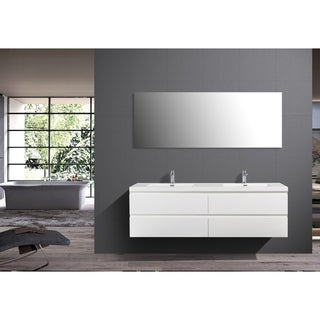 Alma-Pre 84″ Wall Mount Vanity With White Double Sink