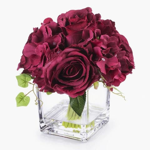 Enova Home Silk Hydrangea and Rose Flower Arrangement in Cube Glass Vase with Faux Water For Home Decoration