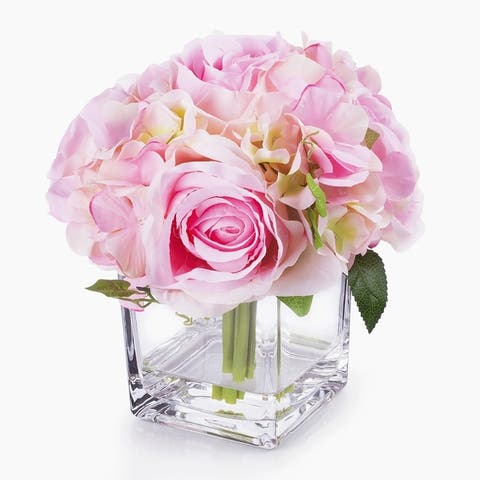 Enova Home Silk Hydrangea and Rose Flower Arrangement in Cube Glass Vase With Faux Water For Home Decoration - N/A