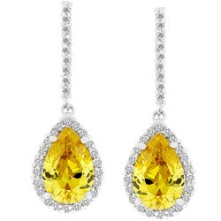 Kate Bissett Silvertone Yellow Cubic Zirconia Teardrop Earrings