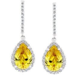 Kate Bissett Silvertone Yellow Cubic Zirconia Teardrop Earrings