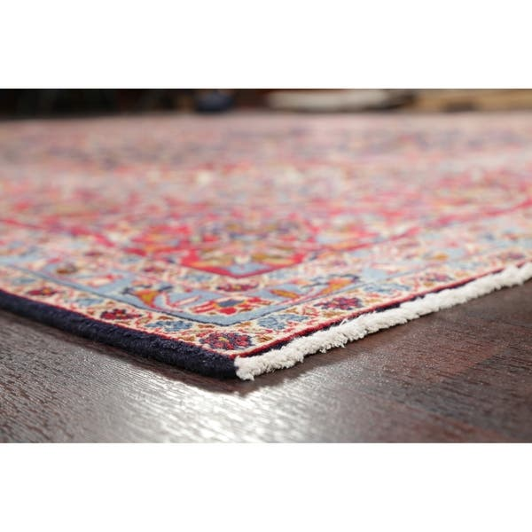 Vintage Navy Blue Red Floral Oriental Kashan Persian Area Rug Handmade 7 9 X 12 4 On Sale Overstock 30426666