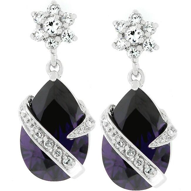 Kate Bissett Silvertone Purple Cubic Zirconia Drop Earrings
