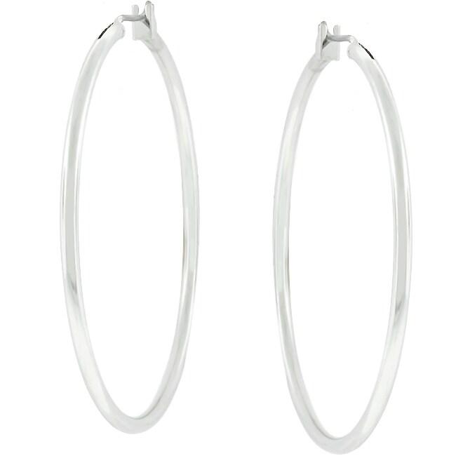 Kate Bissett SilvertoneTwo-inch Fashion Hoop Earrings