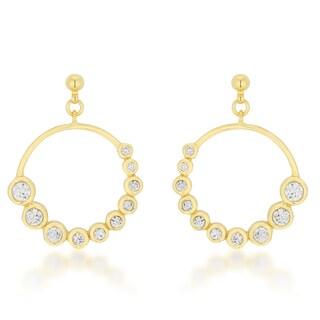 Kate Bissett Goldtone Drop Circle Journey CZ Earrings