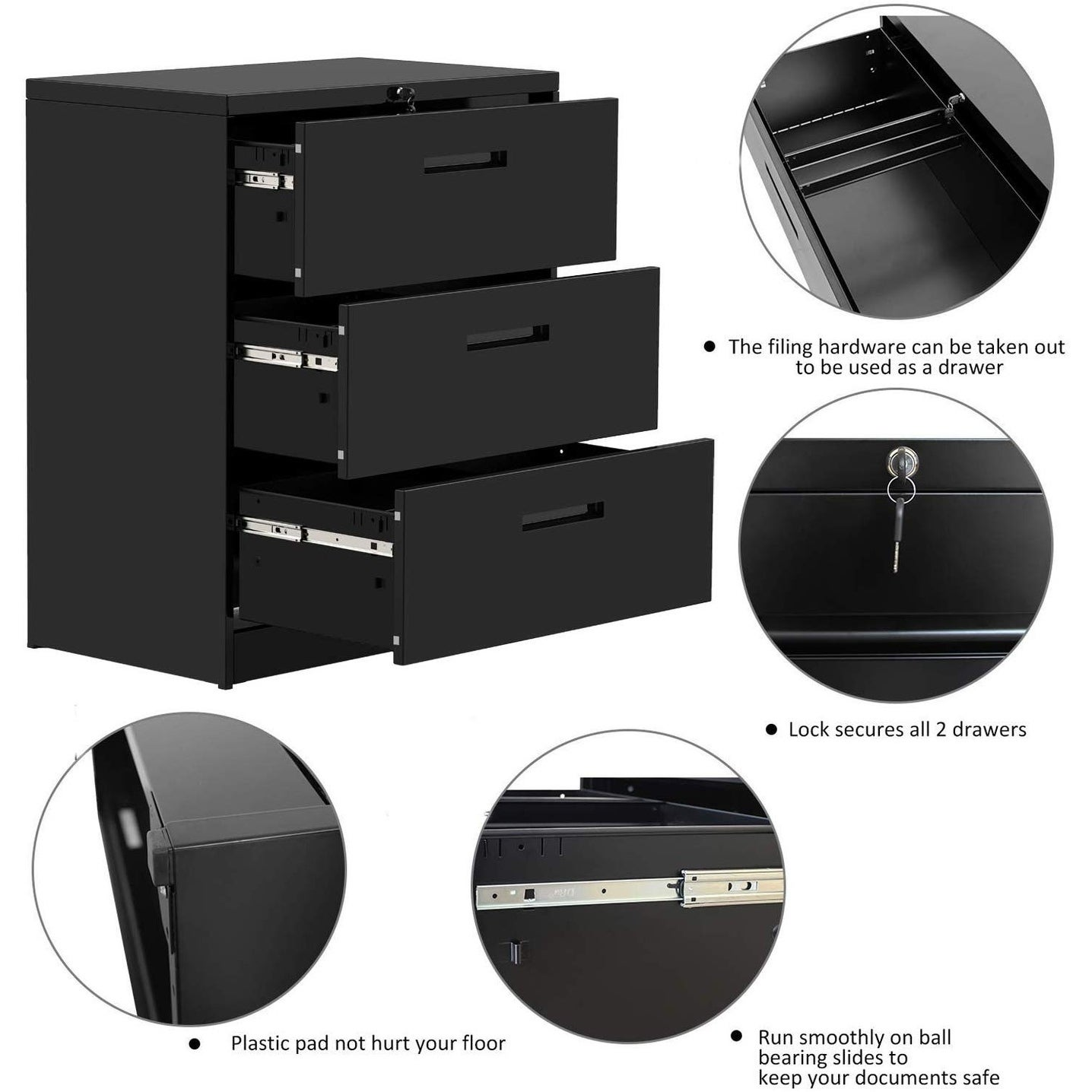Lateral File Cabinet 2 Drawers With Lock Heavy Duty Filing Cabinet