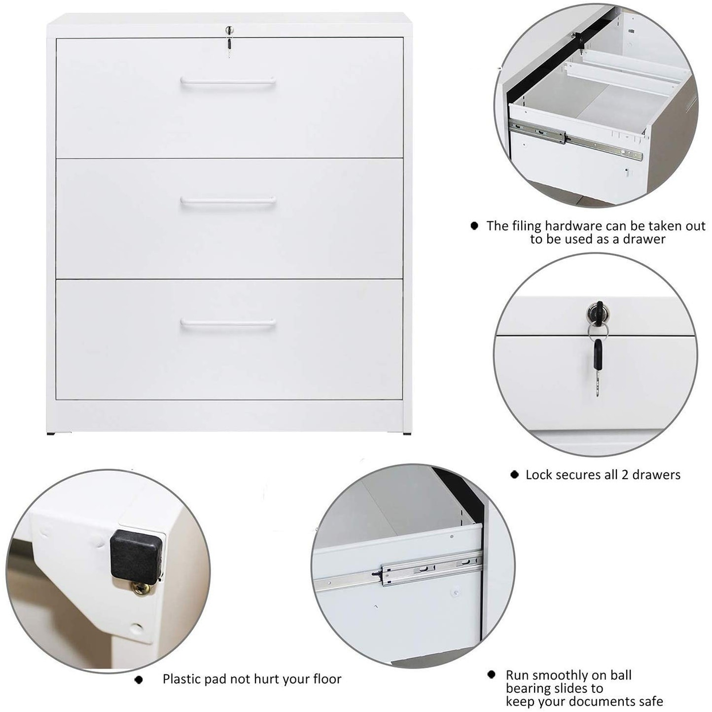 Merax Lateral File Cabinet Two Drawer Locking Filing Cabinet 2