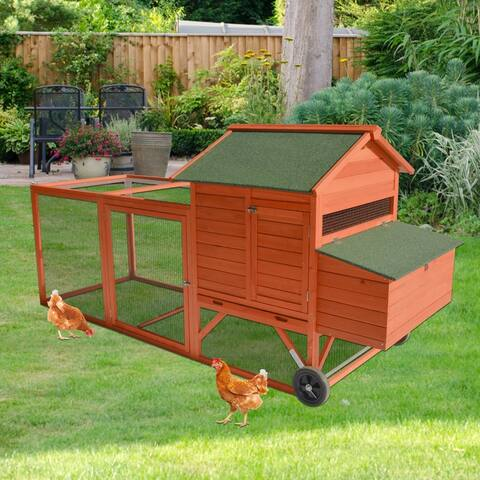 """Kinpaw 46"""" Wooden Chicken Coop w/ Wheels, Hen House Poultry Cage for Small Animals, Bunny Hutch w/ Removable Tray, Nesting Box"""