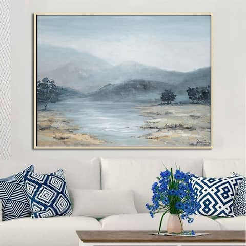 Hand Painted Acrylic Wall Art Blue River Valley with Mountains on a 47 x 35 Rectangular Canvas with a Brown Wooden Frame