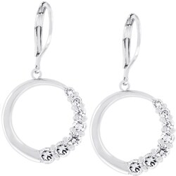 Kate Bissett Silvertone Cubic Zirconia Circle Drop Earrings