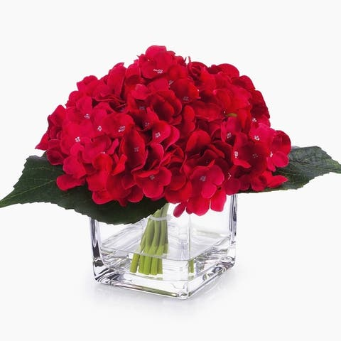 Enova Home Silk Hydrangea Flower Arrangement in Cube Glass Vase with Faux Water For Home Decoration