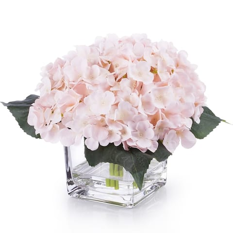Enova Home Artificial Silk Hydrangea Fake Flowers Arrangement in Cube Glass Vase with Faux Water for Home Office Wedding Decor