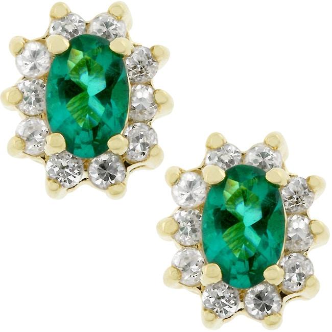 Kate Bissett Goldtone Emerald Cubic Zirconia Stud Earrings
