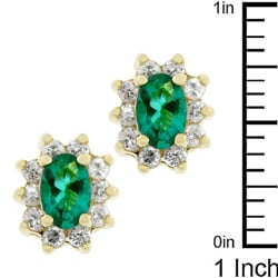 Kate Bissett Goldtone Emerald Cubic Zirconia Stud Earrings - Thumbnail 2