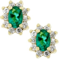 Kate Bissett Goldtone Emerald Cubic Zirconia Stud Earrings