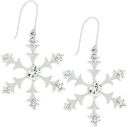 Kate Bissett Silvertone Snow Flake Drop CZ Earrings