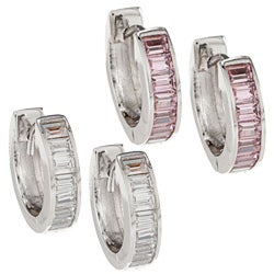 Hinged Kate Bissett Silvertone Cubic Zirconia Hoop Earrings