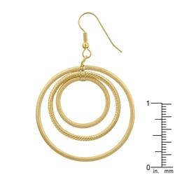 Kate Bissett MattedGoldtone Inscribed Circles Hoop Earrings - Thumbnail 2