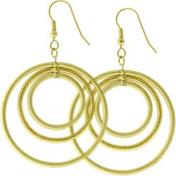 Kate Bissett MattedGoldtone Inscribed Circles Hoop Earrings