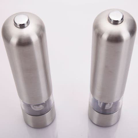 2pcs Stainless Steel Electric Automatic Pepper Mills Salt Grinder