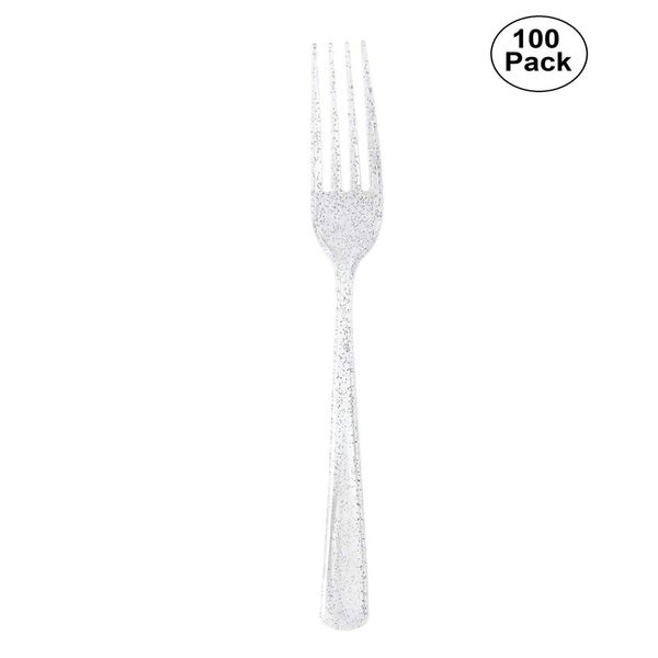 Disposable Plastic Silverware Set w/100 Disposable Plastic Forks