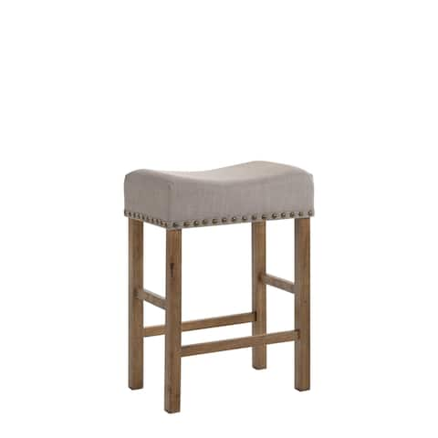 Upholstered Wooden Counter-height Stools (Set of 2)