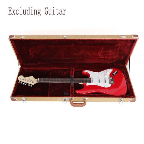 Acoustic Wooden Leather Electric Bass Guitar Hard Case
