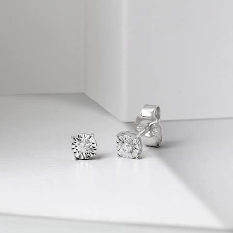 1/20ct Round Diamond Solitaire Stud Earrings in Silver by DeCouer (HI I2)