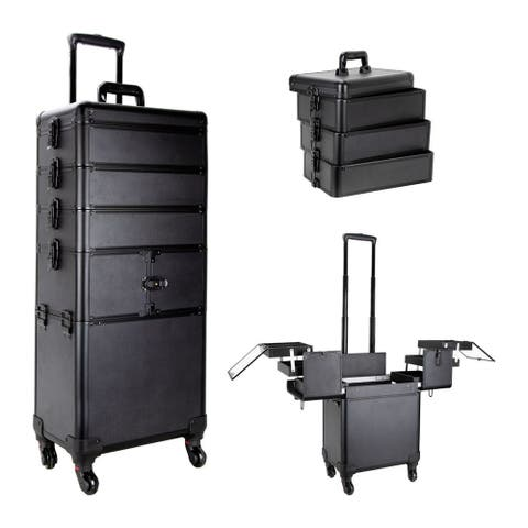 Ver Beauty Vt014 Black Matte Professional Rolling Aluminum Cosmetic Makeup Case with 3-Tier Accordion Stackable Trays & Dividers