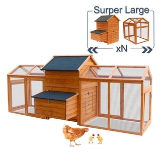Kinpaw Customizable Wooden Chicken Coop, Hen House Bunny Hutch w/ Optional Outdoor Runs, Large Poultry Cage for Small Animals