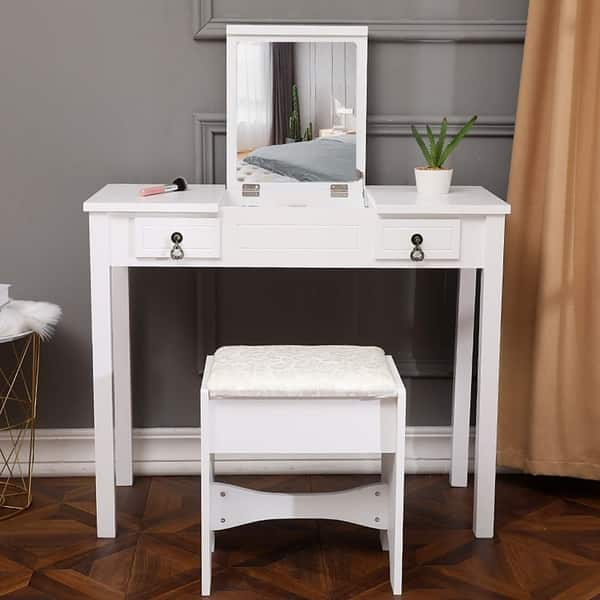 Shop Vanity Table Set with Mirror,Bedroom Dressing Table w ...