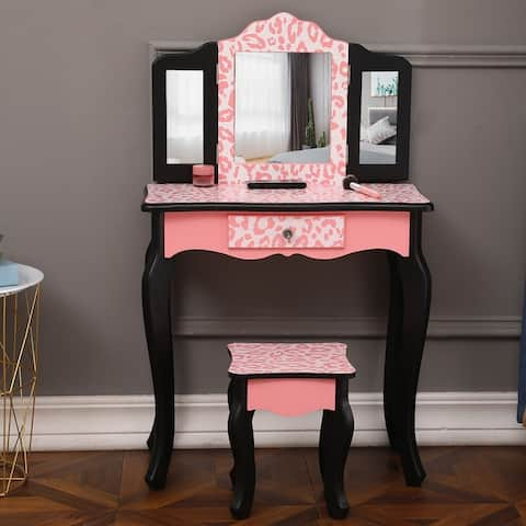 Porch & Den Shallow Brook Black/ Pink Leopard Print Vanity Table Set with Mirror