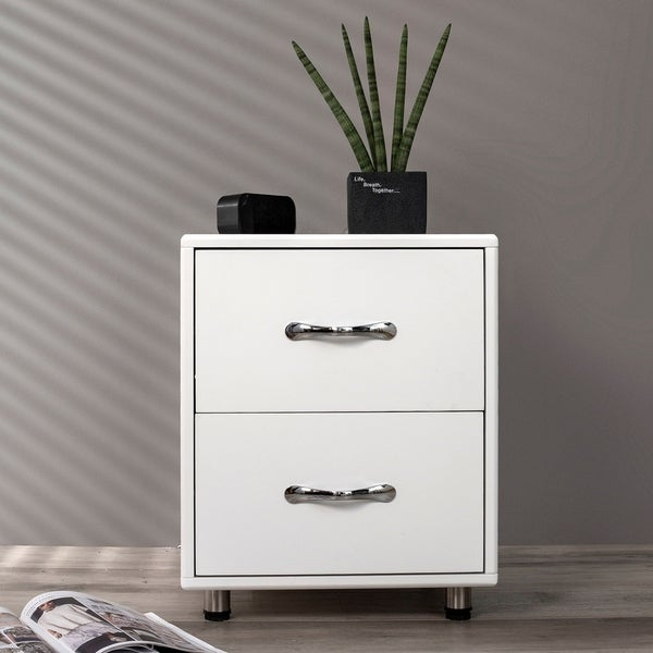 Merax White 2 Drawers Nightstand