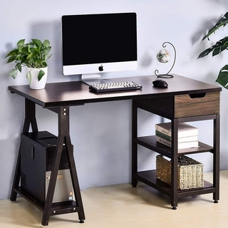 Merax Computer Desk Study Table with Drawer and Shelves Computer Laptop Study Desk