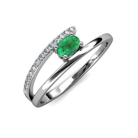 Trijewels Emerald & Diamond 1/2 ctw Bypass Promise Ring 14KW Gold