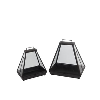 2 Piece Cowbell Shaped Metal and Glass Lantern, Gray