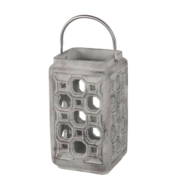 Cement Lantern with Cut outs and Metal Handle, Large, Gray and Silver