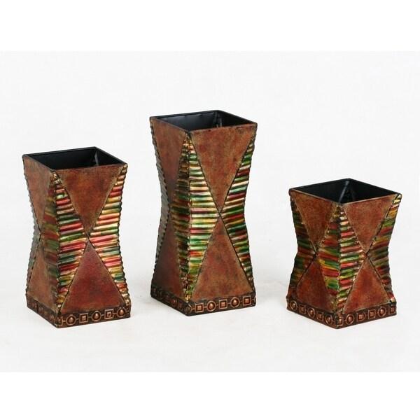 3 Piece Embellished Concave Shape Vase Reeded Design, Multicolor