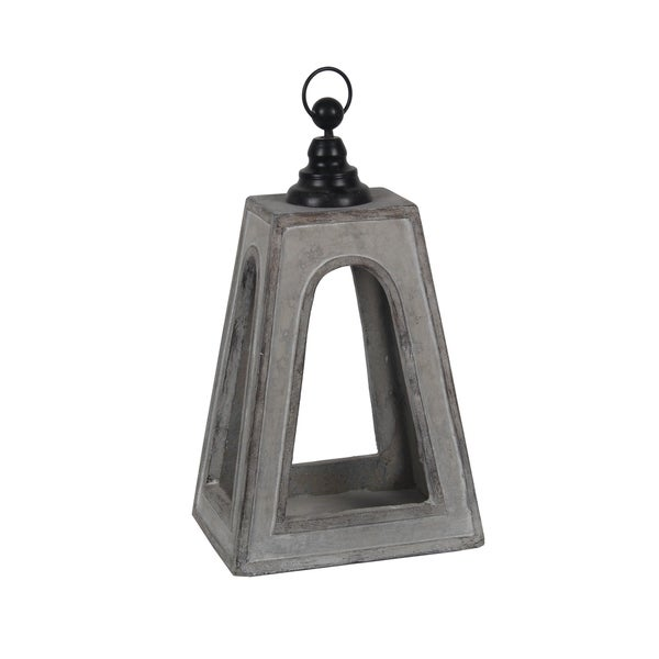 Farmhouse Flared Cement Lantern with Finial Top, Small, Gray and Black